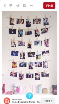 Tumblr picture wall: What u need: Favourite pics, string, clothes pins