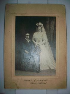 "1800s Photograph Victorian Bride and Groom Wedding Portrait 8"" x 6"". $6.95, via Etsy."