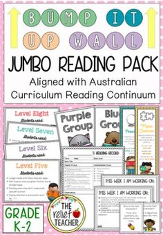 Bump it Up Wall *Reading Mega Bundle* Aligned with Australian Curriculum Reading Clusters* By Stage One, students are expected to progress to the level 8 cluster on the K-10 Literacy Continuum. In order to track and encourage this growth in reading, use this interactive 'Bump it Up Wall' display.