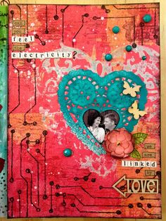 I first created the background using Tattered Angels Glimmer Mist and Glaze and some stamps