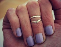 Sterling silver knuckle rings chevron by ChildrenofFlowers on Etsy