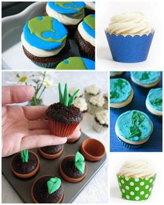 Earth Day Cupcakes - stuff like this interests me because, for example, how is putting a special paper cuff on a cupcake honoring the earth? And the ingredients: Organic? Sustainably grown? I like the little planty fondant things in the pots, and would love to see folks share actual plants in the pots after the cupcakes are done. -- But if it's just earth/nature themed STUFF, it's missing the point.