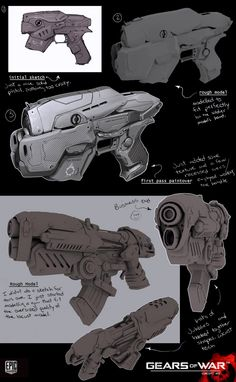 Gears of War Weapon Concepts Sci Fi Weapons, Weapon Concept Art, Fantasy Weapons, Weapons Guns, Illustrations, Illustration Art, Laser Tag, Future Weapons, Gears Of War