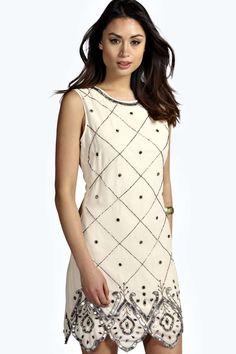 Boutique Gemma Chiffon Embellished Shift Dress alternative image