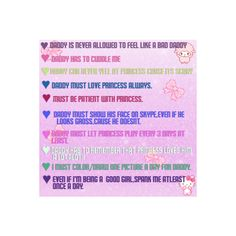 I'm an 19 year old baby girl, I love pink stuff and I want a long distance daddy to chat on kik and see on skype 💠O Daddy, Daddy I Love You, Daddy Rules, Ddlg Quotes, Romantic Pick Up Lines, Dom And Subs, Little Things Quotes, Little My, Submissive