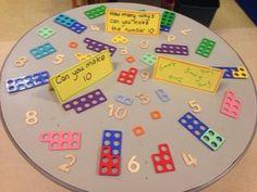 Number bonds to 10 challenge. My children love numicon! Maths Eyfs, Math Classroom, Kindergarten Math, Teaching Math, Primary Teaching, Guided Maths, Classroom Displays, Preschool, Year 1 Maths