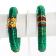 Green Thread Bangles Kada set of 2