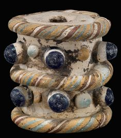 Phoenician Glass Eye Bead, ca. 800 - 300 BC, Eastern Mediterranean Eye Bead, rare shape, Corning Museum of Glass. Historical Artifacts, Ancient Artifacts, Ancient Jewelry, Antique Jewelry, Ethnic Jewelry, Corning Museum Of Glass, African Trade Beads, Handmade Beads, Bead Art