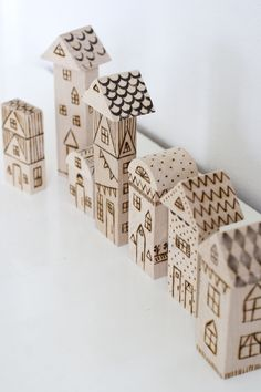 UKKONOOA: Polttokuvioidut palikat / Wood Burned Toy Blocks. Work done by Allisia Burke and great fun blocks they are too. Children don't need so much detail as we might be tempted to put into something like this. They have all the stories in their heads and then some, so keep it simple just like Allisia does ;)