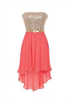 Strapless dress with sequin bodice and chiffon skirt. High-low hemline detail. ♥ combinacion de colores