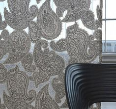 Fabrics and Wallpapers by Chivasso products are modern, and can be used not only in young fun interiors but also in rich classical interiors. Sheer Fabrics, Sofa Chair, Paisley, Serenity, Black And White, Wallpaper, Modern, Handmade, Sketchbooks