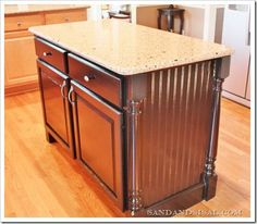 Kitchen Island makeover Sand and Sisal: Transform Builder Grade Drab into Custom Made Fab