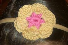 diadema con flor doble, Crochet, Accesorios