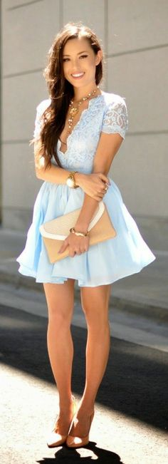 Jessica Ricks slightly tanned, smiling with chest-length hair in a short blue lace evening dress with a deep neckline and short sleeves, nude pumps, gold wristwatch wearing a taupe clutch Source by Sexy Dresses, Beautiful Dresses, Prom Dresses, Ceremony Dresses, Evening Dress 2015, Evening Dresses, Jessica Ricks, Chica Cool, Sequin Party Dress