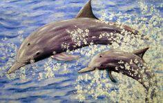 Delfines - Ella y su cria.  Acrílico sobre tela de saco. 120x70 cm. Whale, Animals, Tela, Dolphins, Sacks, Poems, Paintings, Whales, Animales