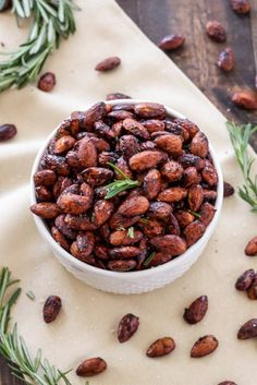 Sweet, salty, spicy almonds with a touch of fresh rosemary! Perfect for parties and snacking!
