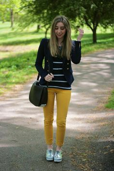 yellow skinny jeans, metallic brogues and stripes