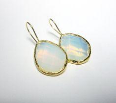 Pear Moonstone Earrings, Gold Vermeil, 925k Silver, Opal Earrings