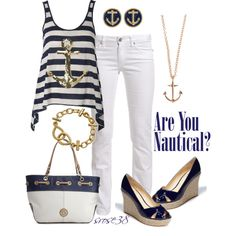Nautical, created by srose38 on Polyvore..maybe with gold studs and white shorts instead for a summer day look