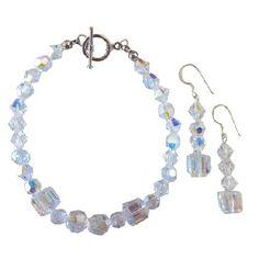 Bridal Bridesmaid Genuine Swarovski AB Crystals Bracelet Earrings Set