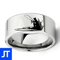 Wholesale Engraved Fisherman Silhouette Ring for Fishing Lovers Flat Mens Tungsten Carbide Wedding Band Size 7 to 13 Tungsten Mens Rings, Tungsten Carbide Wedding Bands, Promise Rings For Guys, Rings For Men, Love Promise, Commitment Rings, Engagement Jewelry, Ring Designs, Silver