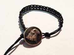 American eagle button with gun metal glass beads by ValiantMosaic, $20.00