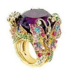 RING LUXURY PRESENT REAL STONES SUITE BUTTERFLY
