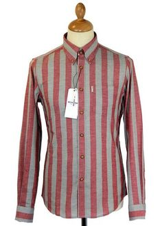 Ben Sherman Mod Roller Stripe Button Down Shirt in a cool fiesta red and silver. Mod Regular Fit. Available now at Atom Retro: http://www.atomretro.com/product_info.cfm?product_id=13918 #bensherman #boldstripe #buttondown #shirt #atomretro