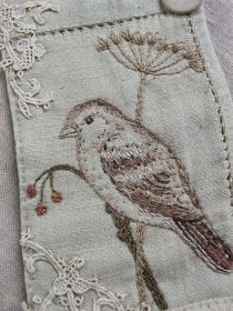 I& slow stitching my way through these January days making these little bird pieces, When completed, they will be made into & . Embroidered Bird, Bird Embroidery, Cross Stitch Embroidery, Embroidery Patterns, Machine Embroidery, Fabric Birds, Fabric Art, Bird Quilt, Fabric Journals