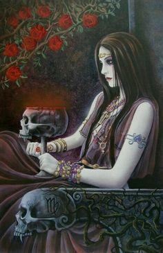 skull chalice under roses
