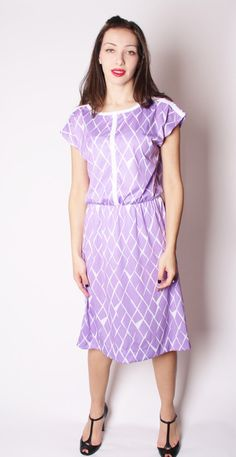Vintage 70s Lavender Graphic Geometric Pastel Dress / by aiseirigh, $42.00