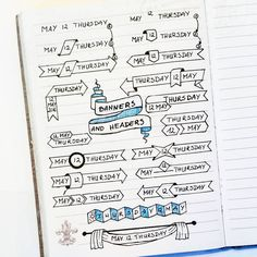 """Joanna Gorgon on Instagram: """"Cheers to the page full of banners and headers inspired by lovely Apsi @therevisionguide. I've made it in Walk-in clinic while waiting for my son's apointment (nothing really happened, just overprotective mommy here). Waiting room tip - use credit card as a ruler #bulletjournal #the100dayproject #100daysofcreativeplanningbyjo"""""""
