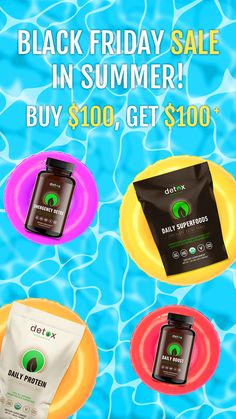 Summer's almost here! Shop our Black Friday in Summer Sale! Get $100 in FREE Superfoods when you spend $100 (while supplies last). 👙 Less Bloat 🏊♂️ More Energy 😎 Less Inflammation 🏝 Less Stress 🏖 More time spent happy and healthy Detox Shakes, Detox Organics, Summer Sale, Organic Recipes, Superfoods, Black Friday, The 100, How Are You Feeling, Stuff To Buy