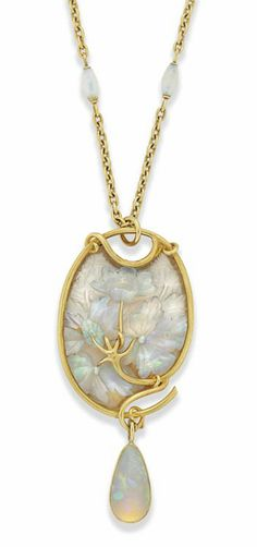 AN ART NOUVEAU OPAL AND GLASS GOLD MOUNTED PENDANT, BY LALIQUE The carved opal flowers and foliage applied to a textured opalescent glass ground within a sinuous gold frame, suspending a pear shaped opal drop to an oval link chain with two further opal bead accents, circa 1900, pendant 9.0cm long Signed Lalique