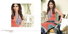 Womens Fashion Pakistani Designer Suits Haute Couture for work / Party and Casual wear- Aeisha Varsey collection. In Blue and Orange Latest Summer Pakistani Luxury Lawn Collection. Embroidered Lawn Shirt with Pure Chiffon Dupatta and Lawn Trouser.