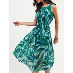 19.21$  Buy now - http://vizkx.justgood.pw/vig/item.php?t=2offh9m47538 - Scoop Neck Feather Print Belted Dress
