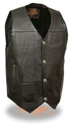 Men's premium black leather motorcycle vest with buffalo nickel snap down front closure and internal concealed gun pockets from Leather King.