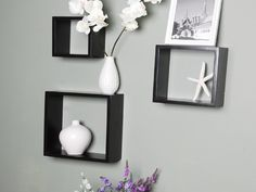 """Welland Victorian Tri Cube Wall Displaying Shelf Black by Welland. $19.00. No assembly required. Accent any room with this wall-mount cube shelf set. Includes mounting hardware. Wipe clean with dry cloth. The square design is perfect for displaying favorite treasures, displaying candles. This cube shelf set will add a new and interesting element to your room and can be easily combined with other pieces to create a customized wallscape. Size: 10""""L x 10""""H x 4""""D..."""