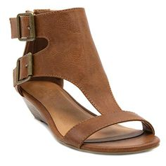 Sugar Womens Wigout Demi Wedge Sandal 85 Burnished Cognac ** You can get  more details