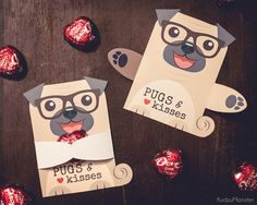 Pug Puppy Classroom Candy Hugger valentines cute card for chocolate heart or small individually wrapped candy available as an instant download printable file by KudzuMonster