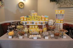 Yellow & Silver baby shower candy table, great option when you don't know if it's a girl or a boy Candy Table, Candy Buffet, Dessert Table, Baby Boy Cakes, Baby Shower Cakes, Yellow Theme, Gray Yellow, Pink Blue, Baby Shower Table Decorations