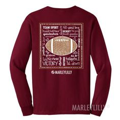 Monogrammed Game Day Long Sleeve T-Shirt in Crimson! #gameday