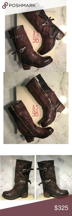 """A.S. 98 Selig Mid-Calf Brown Leather Boots - Designer/Style: A.S. 98 - Selig - Retail: $485 + tax = $525 (I pay tax on all my items) - Color: Chocolate - Brown - Size: 37 EU = 7 US (I tried them on to determine fit) - Approx. = 1"""" heel, 11"""" shaft, 14"""" circumference - Leather, Made in Italy  - Edgy, tough and stylish boot. The distressed leather is a mixture of brown and black with an inner zipper closure and decorative buckles on the outside of the boot. Expect to turn heads! - Condition…"""