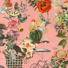 Bomull mørk rosa m fantasimønster
