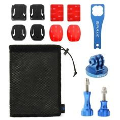 PULUZ 13 in 1 CNC Metal Accessories Combo Kit (Screws + Surface Mounts + Tripod Adapter + Storage Bag + Wrench) for GoPro HERO4 Session /4 /3+ /3 /2 /1