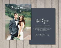 Thank You Wedding Cards.Rustic Wedding Thank You Cards Printable Photo Card Thank