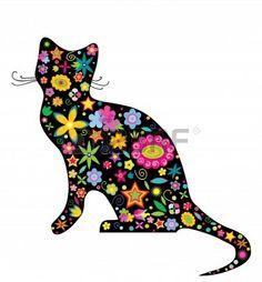 ilustración de la silueta de un gato con flores y las estrellas en el fondo blanco Foto de archivo - 12145434