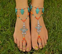 Coral and Turquoise Hamsa Barefoot Sandals with by HouseOfBlaise, $36.00