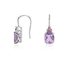 Amethyst and Pink Tourmaline Drop Earrings in Sterling Silver | #Jewelry #Style