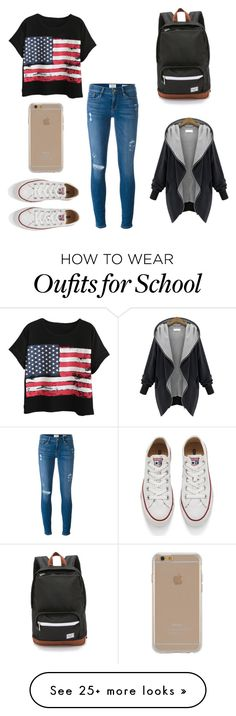 """""""5th week of school"""" by jennasurprenal on Polyvore featuring Chicnova Fashion, Frame Denim, Agent 18, Herschel Supply Co. and Converse"""